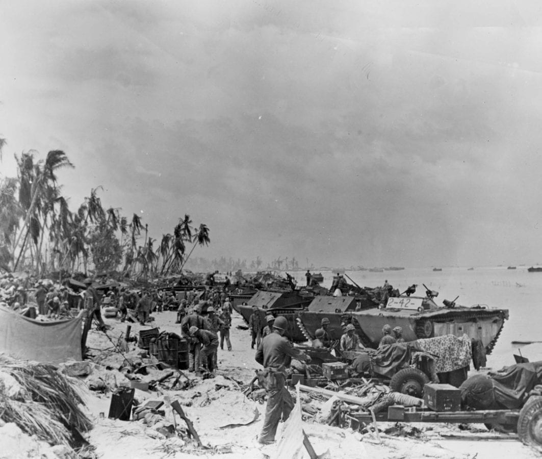 LVT-1s and an LVT-2 at Tarawa