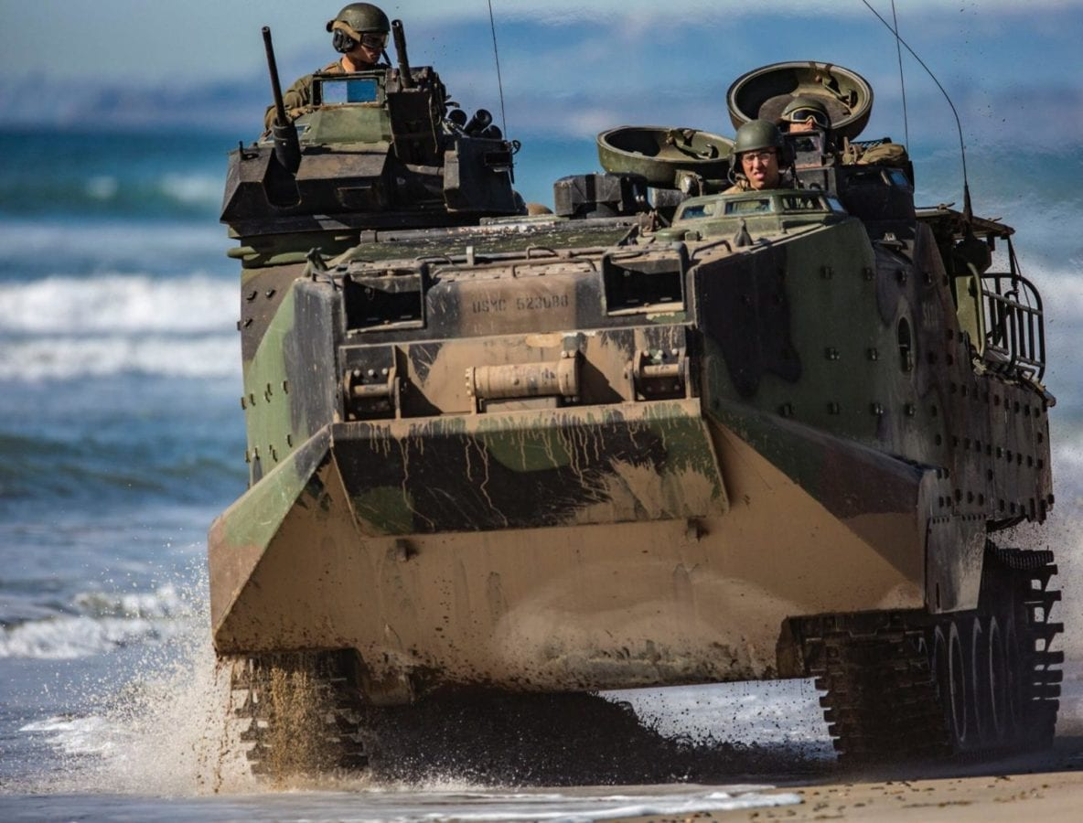Marines assigned to the 3rd Assault Amphibious Battalion, 1st Marine Division conduct a mobile beachhead patrol in an AAV7A1 during Exercise Iron Fist 2018. The Marine Corps is planning to replace the AAV7A1 with the ACV. U.S. MARINE CORPS PHOTO BY CPL. JACOB A. FARBO