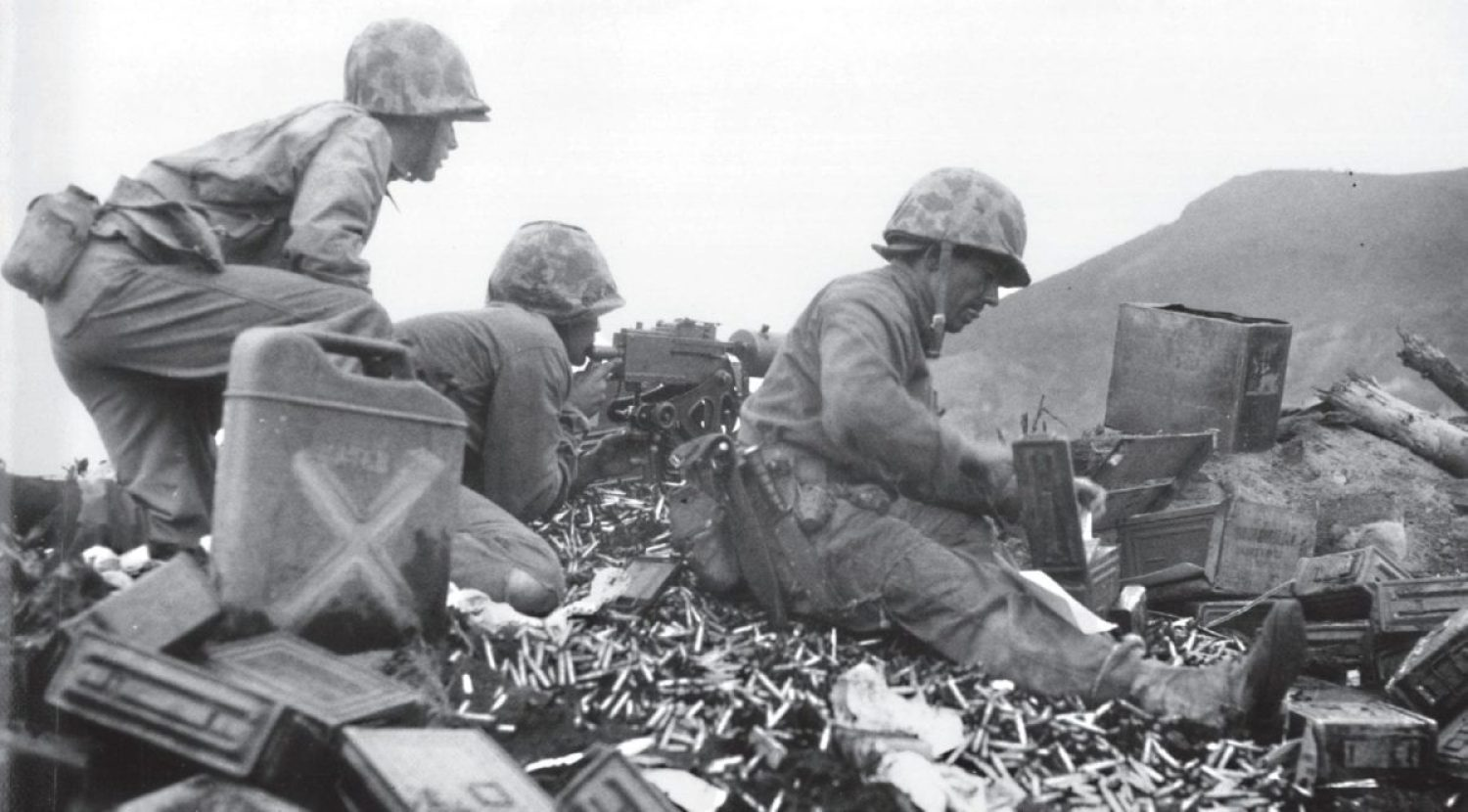 Marines manning a .30-caliber machine gun crouch amid a welter of spent shell casings and empty ammunition boxes. While a common misconception holds that the capture of Mt. Suribachi marked the end of the fighting at Iwo Jima, the truth is that the battle had just begun. The fighting during the month that followed was among the most grueling in the history of America's armed forces. U.S. MARINE CORPS HISTORICAL CENTER