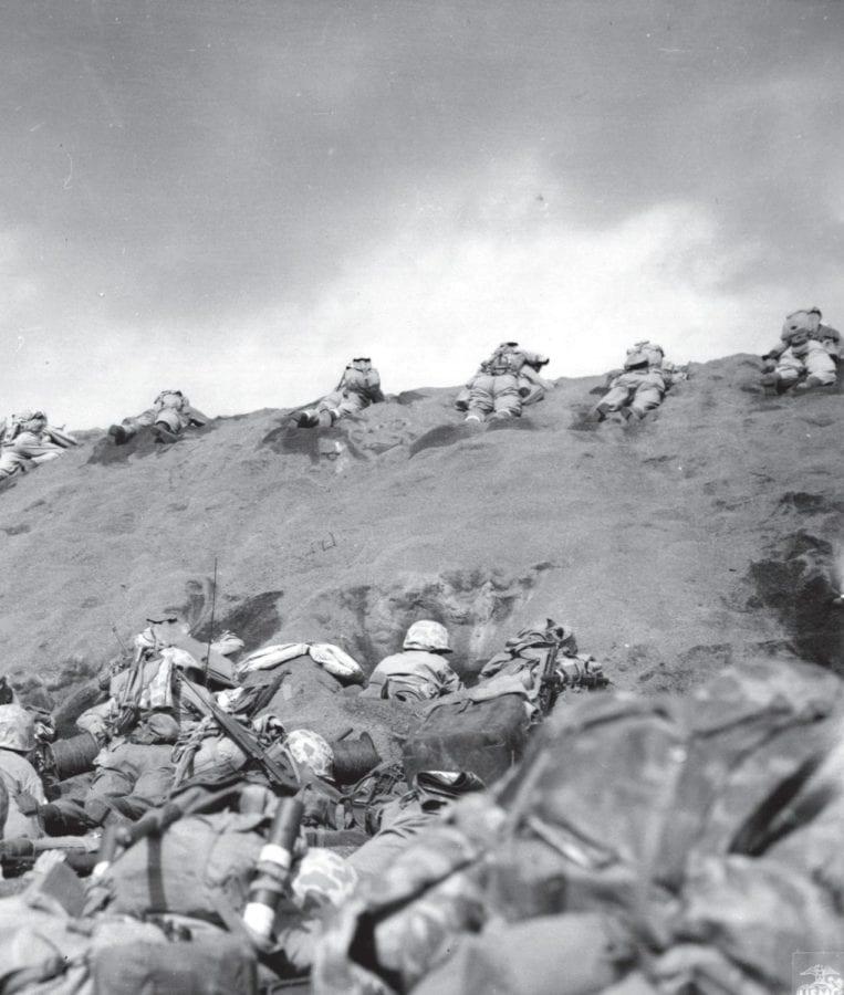Marines under fire on Red Beach No. 1. Iwo Jima