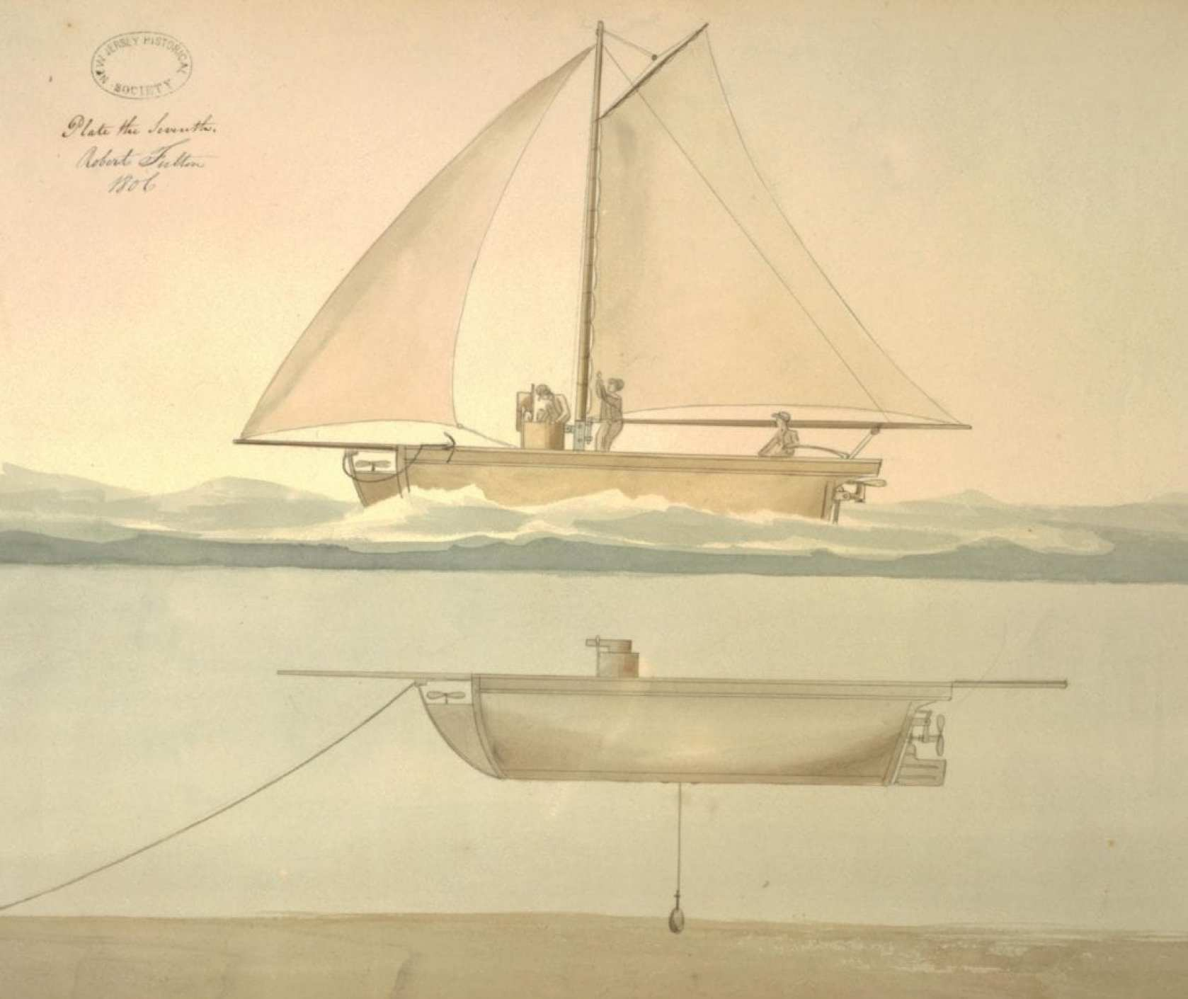 Fulton drawing from an 1806 submarine proposal rejected by the U.S. government.