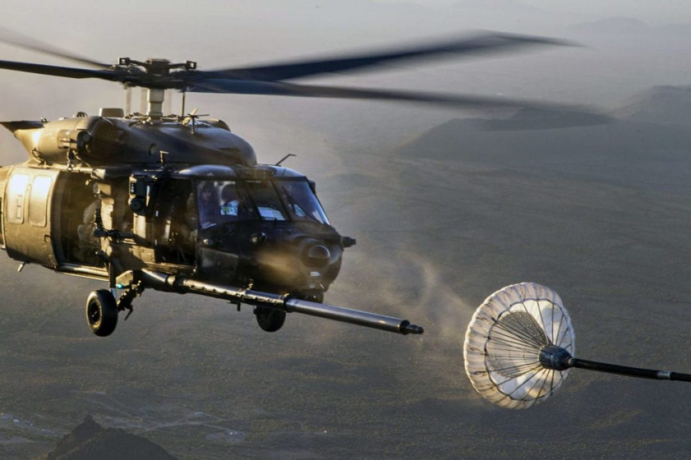 MH-60M Black Hawk helicopter participates in an aerial refueling exercise