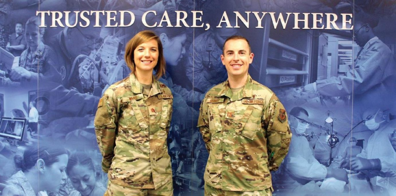 Air Force Maj. Nicole Ward (left) and Air Force Capt. Matthew Muncey, program managers with the Air Force Medical Service Transition Cell. The Transition Cell interfaces with DHA and represents the Air Force position on the development of policy and plans for the transition of military treatment facilities (MTFs) to DHA.
