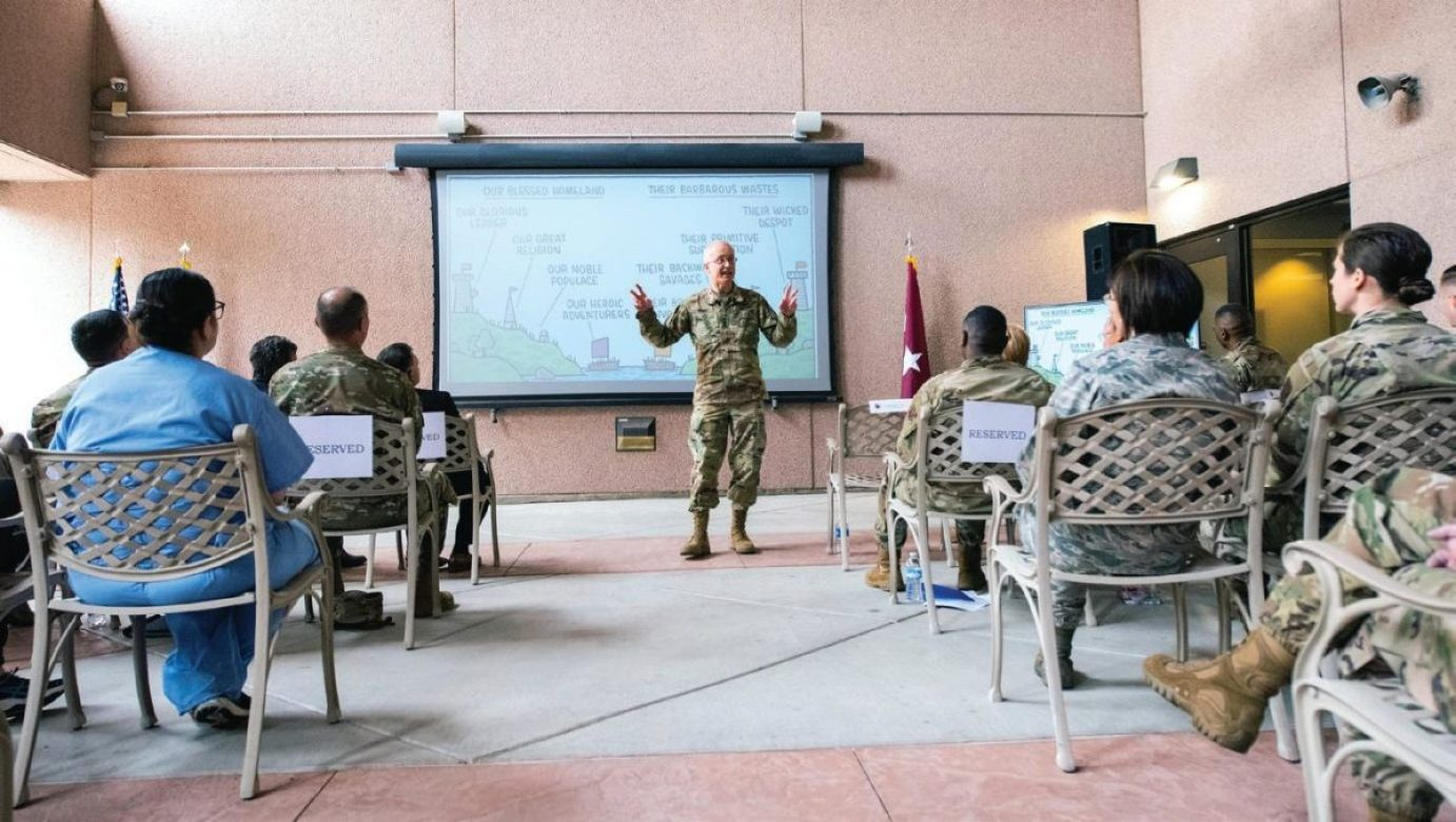 U.S. Army Lt. Gen. Ronald Place, DHA director, addresses members of the 99th Medical Group at Nellis Air Force Base, Nevada, Feb. 28, 2020. During the visit, Place discussed the future of military health care and new advances such as MHS GENESIS, the military's new electronic health record.
