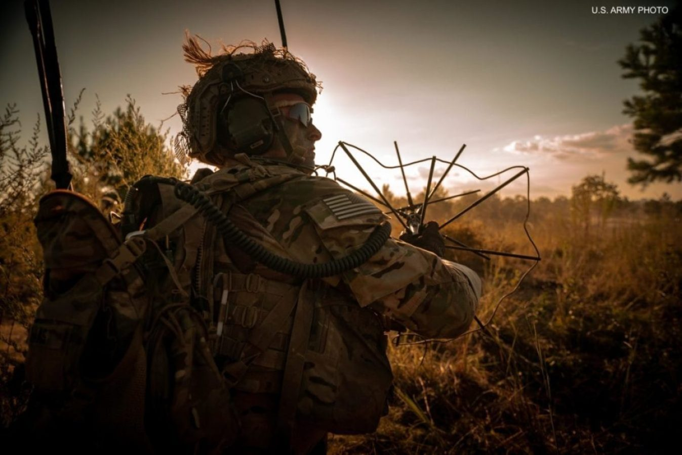 A U.S. Army special operator sets up communications during an exercise. U.S. ARMY PHOTO