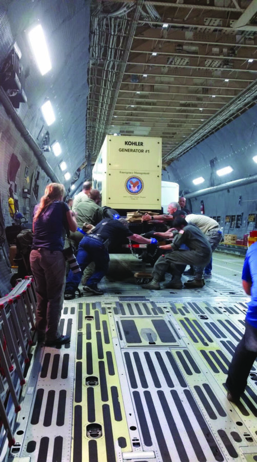 VA employees load a C-5 cargo aircraft with supplies in response to Hurricane Maria in 2017. The VA's Comprehensive Emergency Management Program (CEMP), its standardized procedure for disaster response and recovery, is administered by the VA Office of Emergency Management.