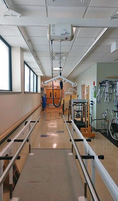 A ceiling lift for gait training enables patients who can't bear weight to ambulate earlier using special slings and harnesses.