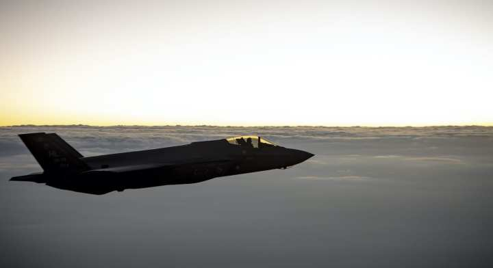 A U.S. Air Force F-35 Lightning II flies over the U.S. Central Command area of responsibility, July 15, 2020. (U.S. Air Force photo by Airman 1st Class Duncan C. Bevan)