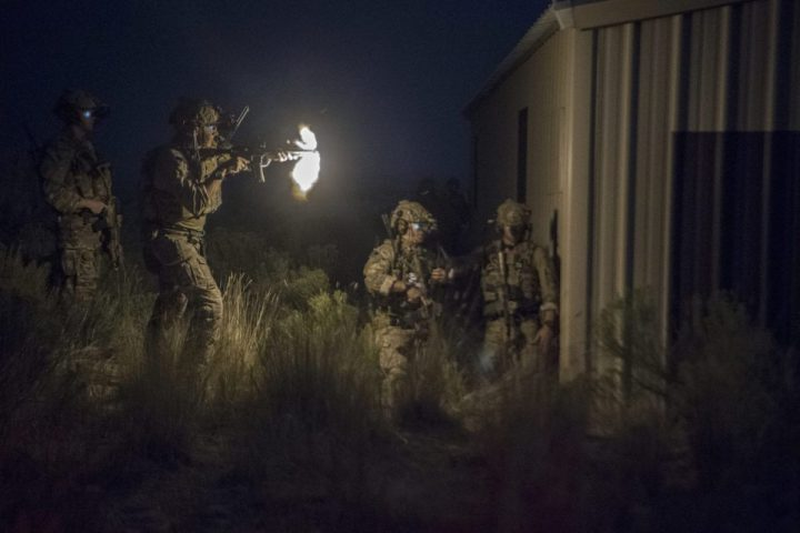 A Special Tactics Airman with the 17th Special Tactics Squadron fires an M4 carbine during Jaded Thunder at Mountain Home Air Force Base, Idaho, Aug. 20, 2018. Special Tactics is U.S. Special Operation Command's tactical air and ground integration force, and the Air Force's special operations ground force, leading global access, precision strike, personnel recovery and battlefield surgery operations. (U.S. Air Force photo by Tech. Sgt. Sandra Welch)