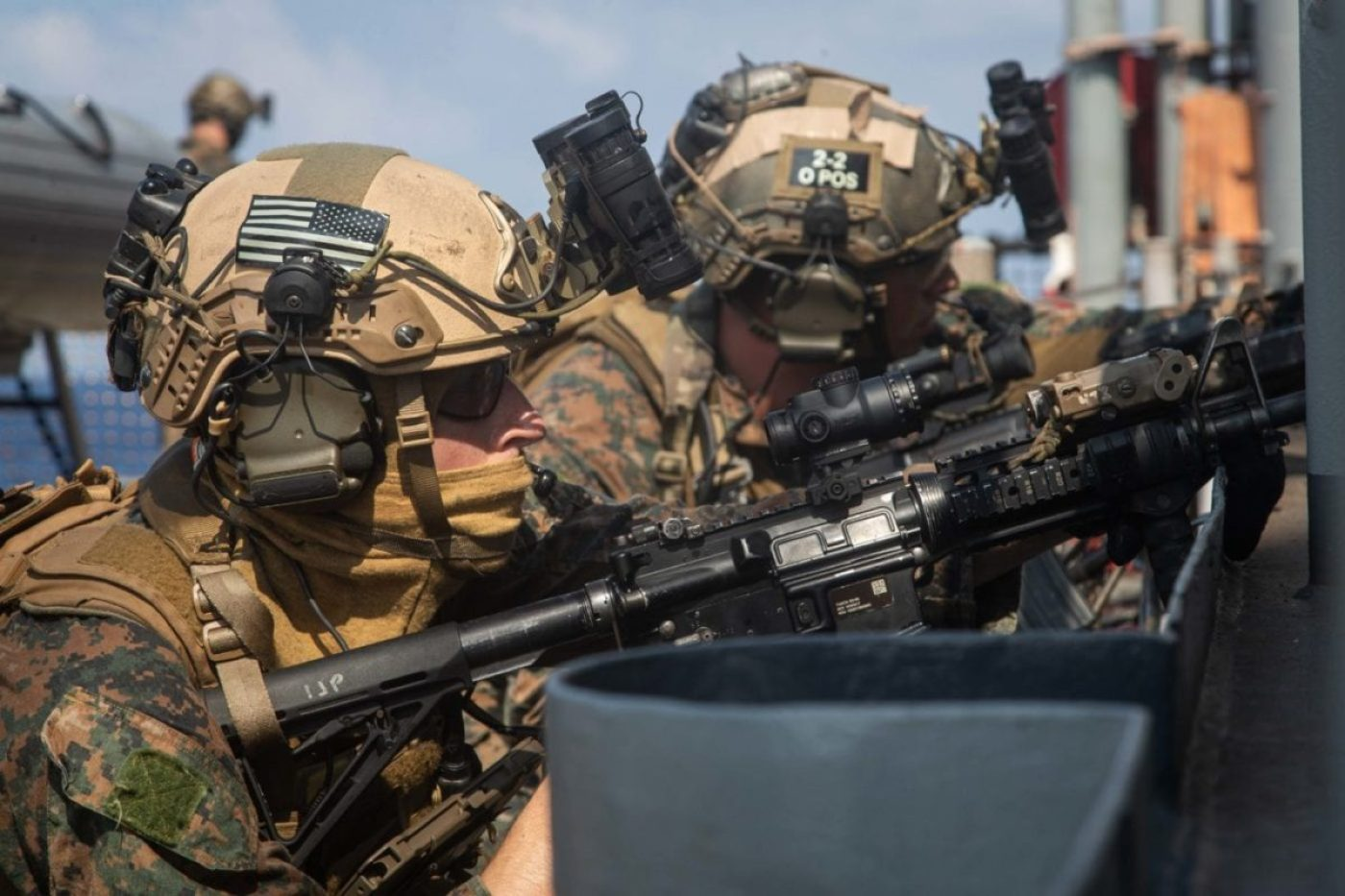 Reconnaissance Marines with the Maritime Raid Force, 31st Marine Expeditionary Unit (MEU) provide security during a simulated visit, board, search, and seizure (VBSS) mission aboard dock landing ship USS Germantown (LSD 42). (U.S. Marine Corps photo by Sgt. Danny Gonzalez)