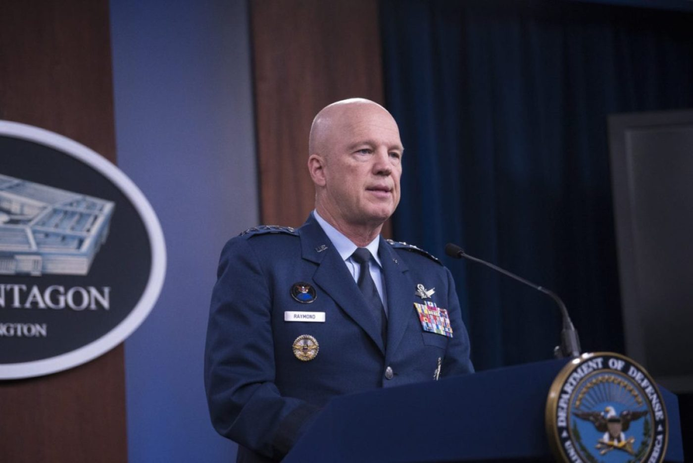 The chief of Space Operations of U.S. Space Force and commander of U.S. Space Command, Air Force Gen. John W. Raymond, briefs from the Pentagon Press Briefing Room about COVID-19, Washington, D.C., March 27, 2020. (DoD photo by Lisa Ferdinando)