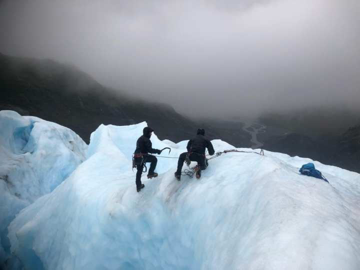 Green Berets with 1st Special Forces Group (Airborne) practices self-recovery from a glacial crevasse during Valor United 20, an arctic warfare training exercise in Seward, Alaska. During the September 2020 exercise, Special Forces and conventional soldiers alike developed their patrolling and survival skills in some of the most unforgiving terrain in the U.S. Key focus areas for the training were arctic, alpine and glacier movement, crevasse rescue, and long-range high-frequency communications. In addition to training, the 1st SFG (A) team assisted 212th Rescue Squadron with wilderness search and rescue operations. (Photo Credit: U.S. Army Courtesy Photo)