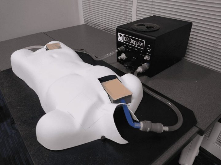 The extracorporeal membrane oxygenation training simulator developed by the Health Care Engineering Systems Center at the University of Illinois at Urbana-Champaign, pictured here, consists of a manikin, cannulation tubing structure, and programmable pump. Image Credit: Anusha Muralidharan, Health Care Engineering Systems Center at Illinois