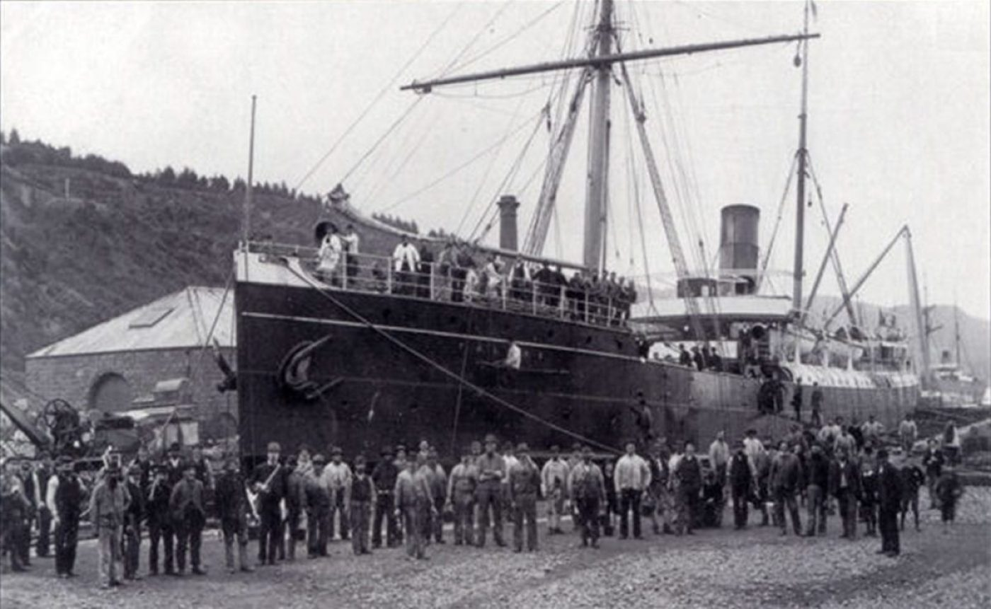 The SS Talune, which brought the Spanish flu to Western Samoa.