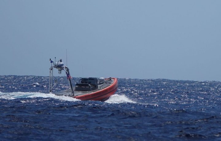 A Coast Guard prototype unmanned surface vehicle performs a test off Oahu, Hawaii, Oct. 7, 2020. The focus of the test was to explore how current and emerging technologies might be used to enhance maritime domain awareness in remote regions. (U.S. Coast Guard photo courtesy of the Coast Guard Research and Development Center/Released)