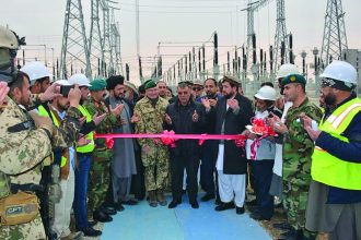Project handover ceremony for the completion of the Comp Shahin Substation and base connection. (Photo Courtesy of USACE Afghanistan District)