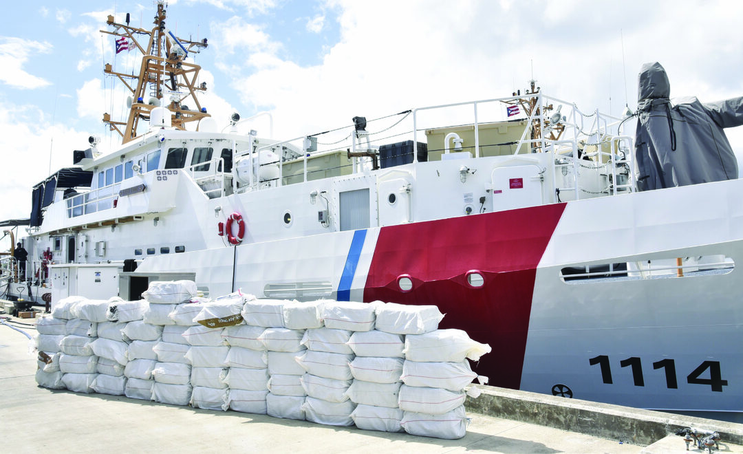 The crew of the Coast Guard Cutter Heriberto Hernandez (WPC 1114) offloaded 55 bales of cocaine weighing 1,375 kilograms at Sector San Juan July 22, 2020. The $38.5 million shipment was seized and recovered from the Caribbean Sea July 16, 2020, following the disruption of a go-fast that led to the smugglers jettisoning the contraband overboard. The interdiction was the result of multi-agency efforts in support of U.S. Southern Command's enhanced counternarcotics operations in the Western Hemisphere, and during Operation Cast Net II, in coordination with Joint Task Force-East. U.S. COAST GUARD PHOTO BY RICARDO CASTRODAD