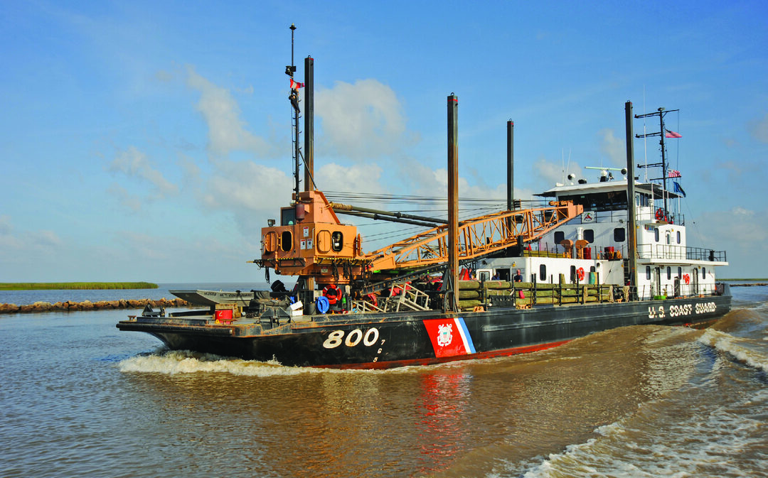 The Coast Guard Cutter Pamlico, a 160-foot inland construction tender homeported in New Orleans, transits Baptiste Collette Bayou while working aids to navigation in the Mississippi River Delta near Venice, Louisiana, April 29, 2009. The Coast Guard's oldest ships, the inland and river construction tenders, will be replaced by the planned Waterways Commerce Cutter. (U.S. Coast Guard photo by Petty Officer 3rd Class Tom Atkeson)