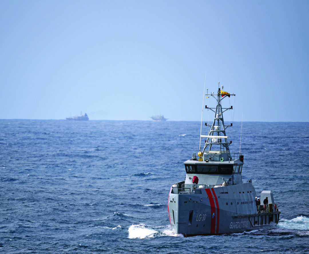 The Ecuadorian naval vessel LAE Isla San Cristobal (LG 30) sails toward the Coast Guard Cutter Bertholf (WMSL 750) while conducting a joint patrol to detect and deter potential illegal, unreported, and unregulated (IUU) fishing in the vicinity of the Galápagos Islands, Aug. 28, 2020. From Aug. 25-29, Bertholf patrolled more than 3,000 square nautical miles of Ecuadorian and international waters and conducted joint operations with the Isla San Cristobal, providing persistent presence and surveillance of fishing activity throughout the region. (U.S. Coast Guard photo)