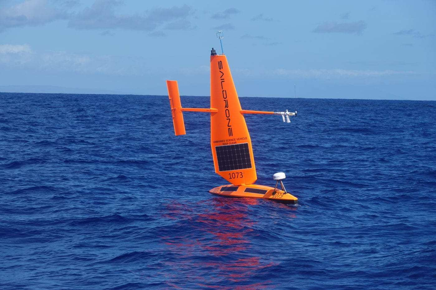 A Coast Guard Saildrone prototype unmanned surface vehicle performs a test off Oahu, Hawaii, Oct. 20, 2020. The focus of the test was to explore how current and emerging technologies might be used to enhance maritime domain awareness in remote regions. (U.S. Coast Guard photo courtesy of The Coast Guard Research and Development Center)