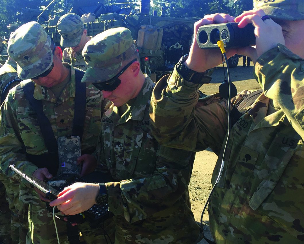 The Soldiers above are using ENFIRE, or an Instrument Set, Reconnaissance and Surveying kit, during their routine training. The kit increases the accuracy of their geospatial information with laser technology that works more quickly than traditional surveying. (U.S. Army Photo)