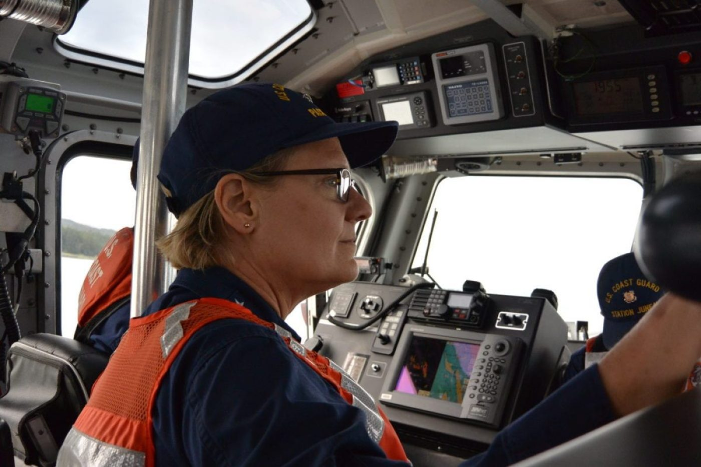 Vice Adm. Linda Fagan, Coast Guard Pacific Area commander, gets underway aboard a 45-foot Response Boat — Medium, in Auke Bay, Alaska, Aug. 15, 2018. Fagan visited multiple units in Coast Guard District Seventeen's area of responsibility. (Coast Guard photo by Seaman Nicole Bridler)