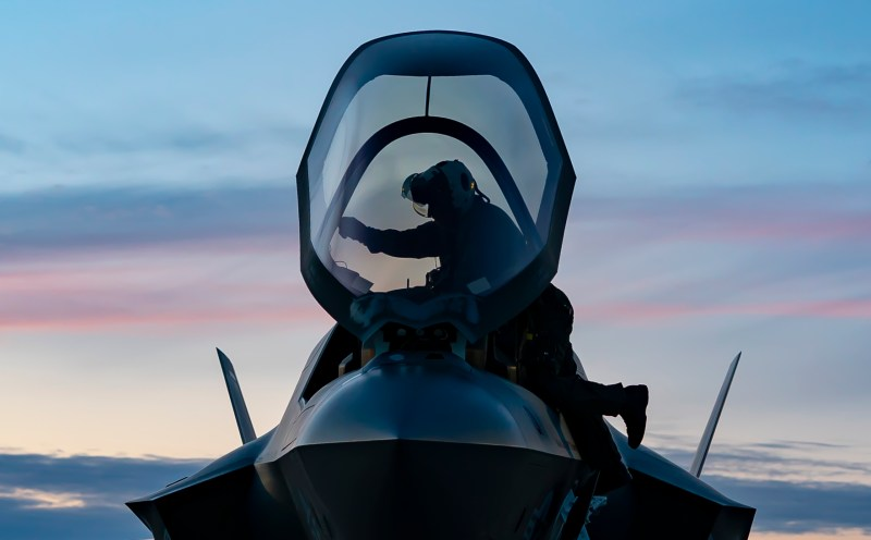 A U.S. Marine Corps F-35B Lightning II Joint Strike Fighter pilot assigned to Marine Aircraft Group 13 arrives at Royal Air Force Lakenheath, England, April 26, 2021. The USMC aircraft completed a transatlantic flight before embarking aboard Her Majesty's Ship Queen Elizabeth for the United Kingdom's Carrier Strike Group 2021 deployment. (U.S. Air Force photo by Airman 1st Class Jessi Monte)