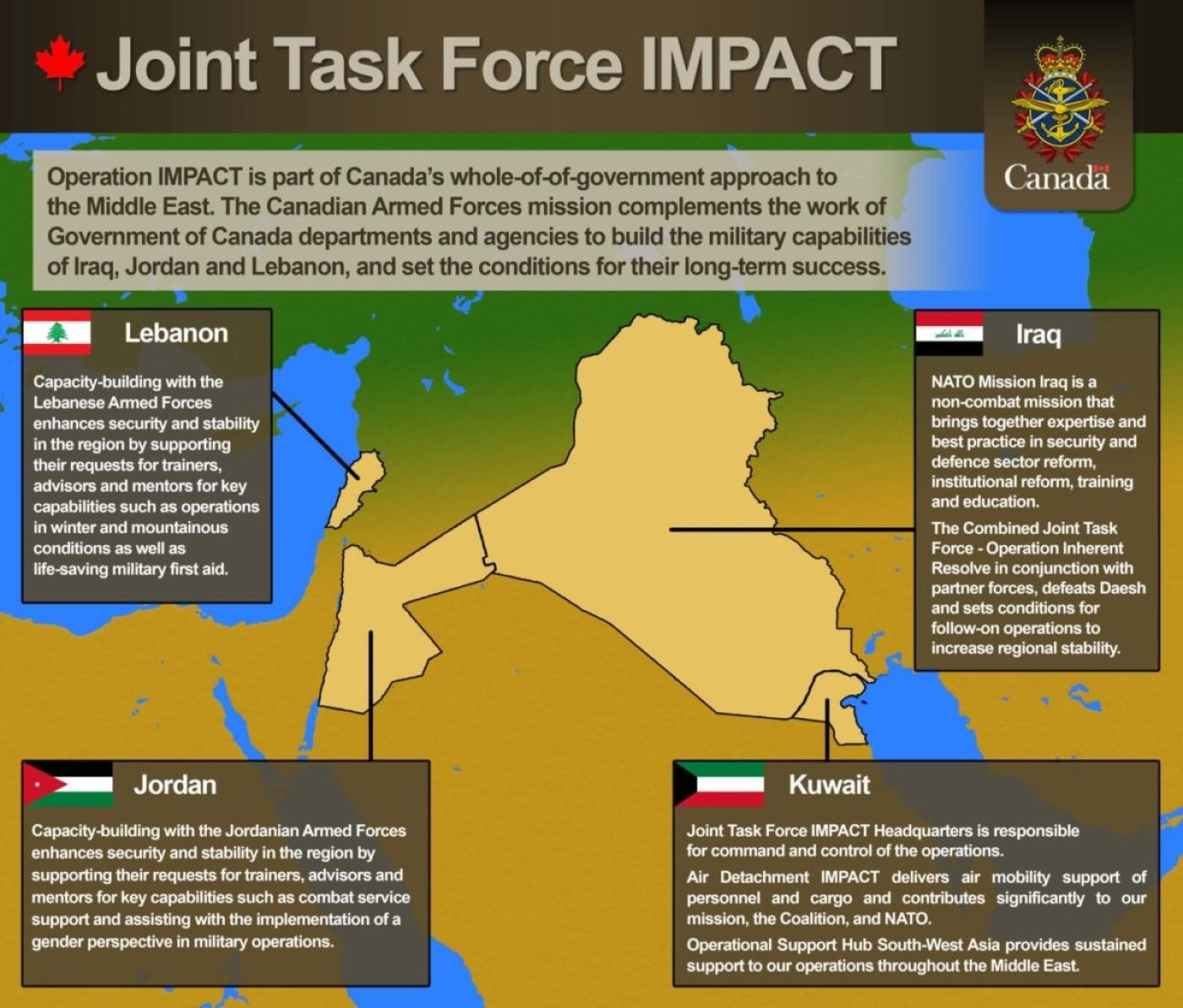 Where Joint Task Force IMPACT is deployed (Canadian Armed Forces image)