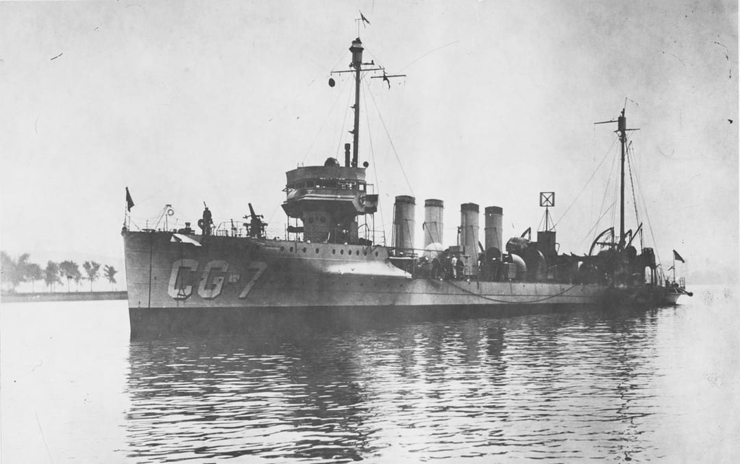 USCGC Porter (CG 7) circa 1924-30, formerly the U.S. Navy destroyer USS Porter (DD 59), one of 25 ex-Navy destroyers turned over to the Coast Guard to enforce Prohibition and battle rum-runners. (Naval History and Heritage Command photo)