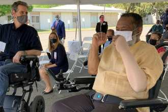 50 personal mobility devices donated to VA and Vets who use them (Veterans Affairs image)