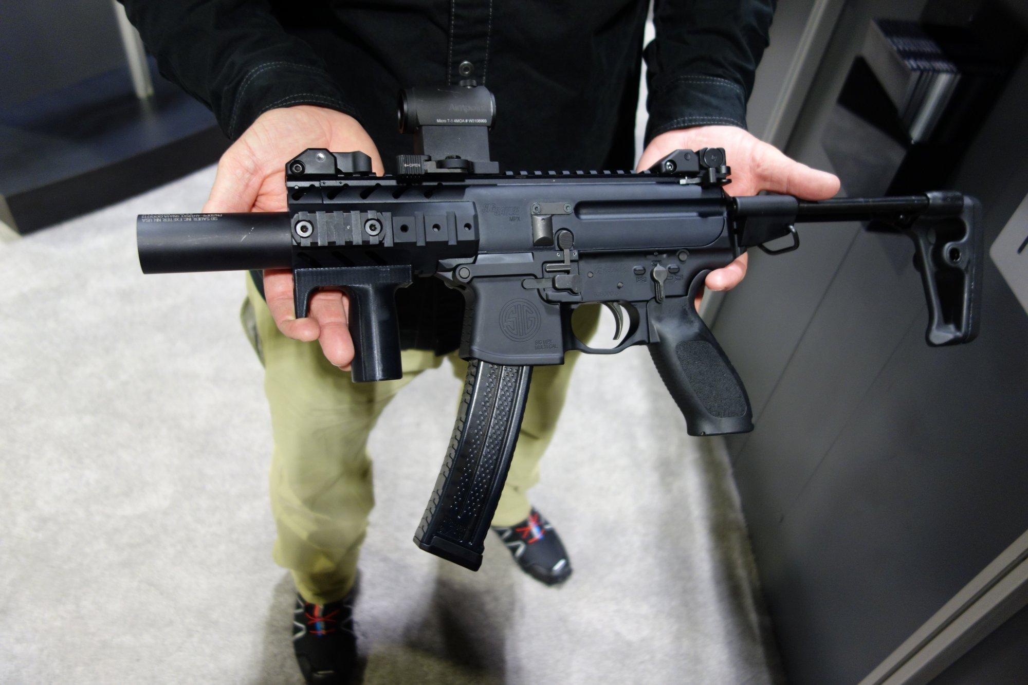 SIG SAUER MPX KeyMod Multi-Cal Machine Pistol/Mini Submachine Gun (SMG)/PDW (Personal Defense Weapon) with Silencer/Sound Suppressor at NDIA SOFIC ...