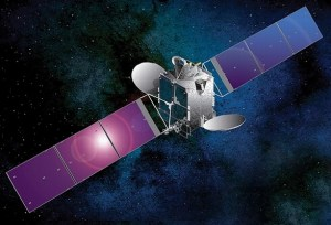 An artist's rendition of the Optus 10 satellite. Based on the Space Systems/Loral (SSL) LS-1300 platform.