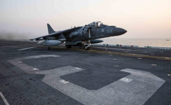 U.S. Marine Harrier takes off from USS Kearsarge to carry out operations against the Islamic State.  Photo by Centcom