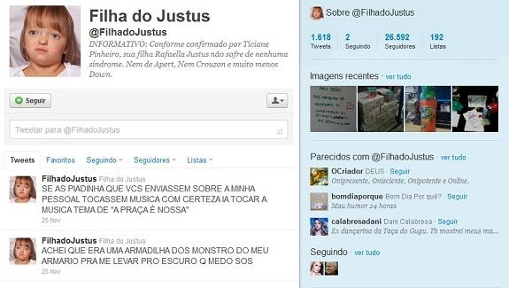 "Twitter ""Filha do Justus"""