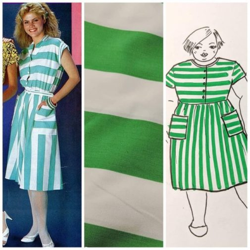 Collage: the photo from 1986 of a woman wearing a turquoise wide striped dress; green wide stripe fabric; and a sketch of a plus size woman wearing a green striped dress in a similar style to the original.