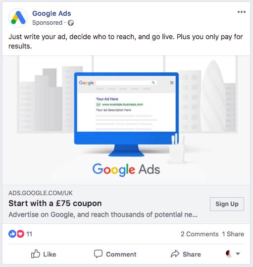 Screenshot of advertisement for Google Ads new user credit.