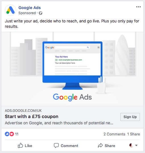 Screenshot of advertisement for Google Ads new user credit.