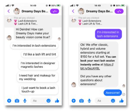 Same of automated messenger conversation