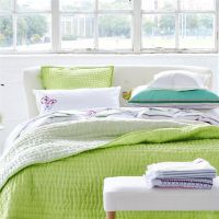 Designers Guild Chenevard Wild Lime and Pale Mint Quilts ...