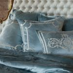 Lili Alessandra Chloe Diamond Quilted Ice Blue Velvet Coverlet Collection