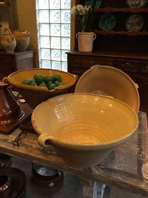 A grouping of French tian bowls