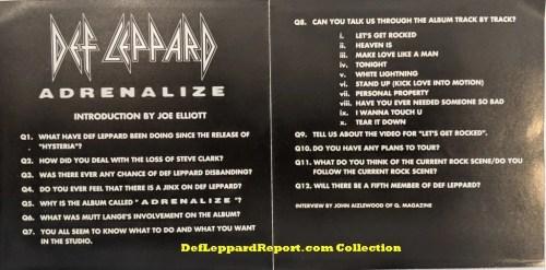 Def Leppard Adrenalize Joe Elliott Interview CD Sleeve