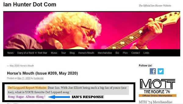 Ian Hunter answering what his favorite Def Leppard album is