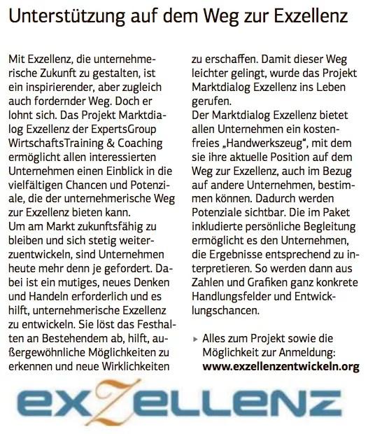Presse Bericht Marktdialog Exzellenz Die Wirtschaft 24.2.2017