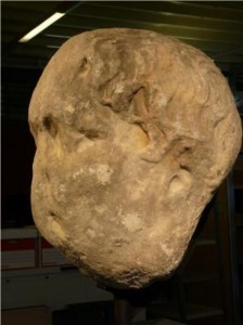 A side view of the Bosham Head, now revealed to be Roman Emperor Trajan. (Credit: Image courtesy of Bournemouth University)