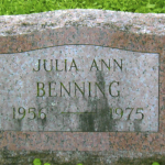 Gravestone Julia Benning. Photograph courtesy of Doug Beard and the Benning Family.