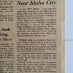 Newspaper clipping courtesy Carlson Family