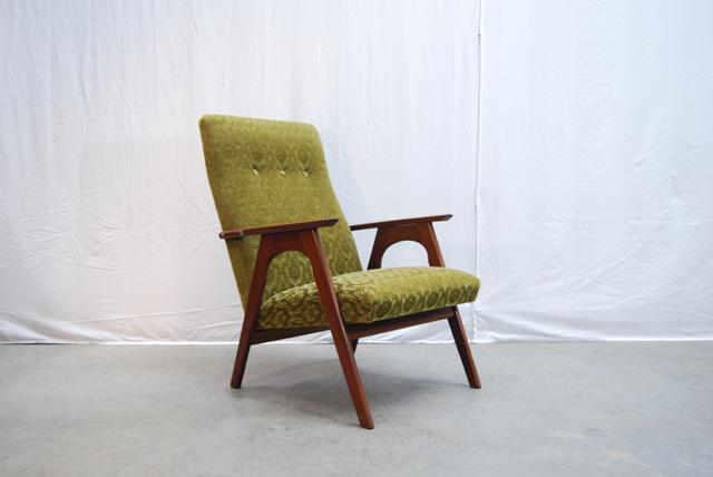 Teakhouten jaren 60 fauteuil met retro bekleding  DE GELE