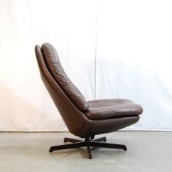Brown Swivel Chair Swing With Stand India Moderne Deense Jaren 70 Vintage Leren Draaifauteuil / Madsen & Schubell Bovenkamp   De Gele ...