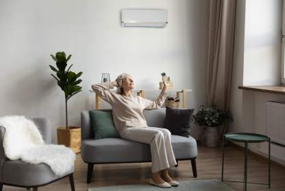 Ductless heat inside the home.